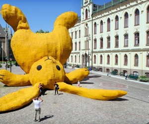 Orebro Sweden Big Yellow Rabbit
